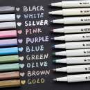 Metallic Markers Glitter Paint Pen Fine Tip, Ohuhu Set of 10 Premium Window Marker for DIY Card Making, Coloring Books, Scrapbook Photo Album, Rock Art, Glass Mother's Day Back to School Gifts