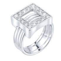 Women's Sterling Silver .925 Designer Ring Featuring a Cubic Zirconia (CZ) Stone Encrusted Open Square and Ribbed Band, Platinum Plated Jewelry