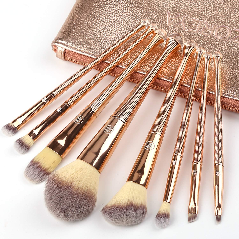 ZOREYA Makeup Brush Set,8Pcs Premium Synthetic Makeup Brush Set for Contouring Powder Contour Foundation Eyebrow Eye Shadow Kabuki, Rose Gold Makeup Brushes Kit with Leather Carrying Bag