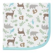 Touched by Nature Unisex Baby Organic Cotton Swaddle, Receiving and Multi-purpose Blanket, Forest, One Size
