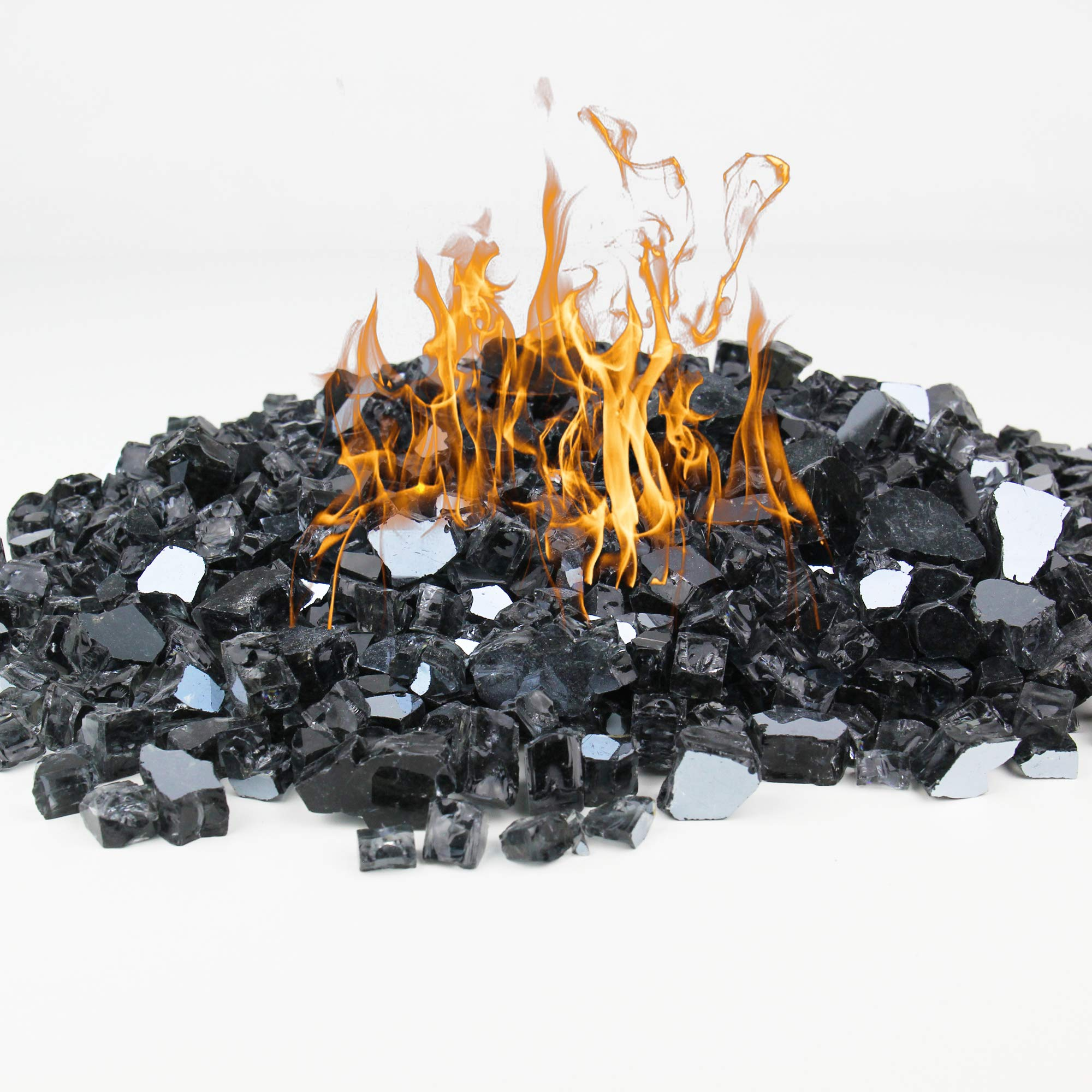 CYS EXCEL Fire Glass for Fire Pit 10 Pounds, Reflective 1/2 inch Fireplace Glass, Rock Outdoor (Reflective, Black)