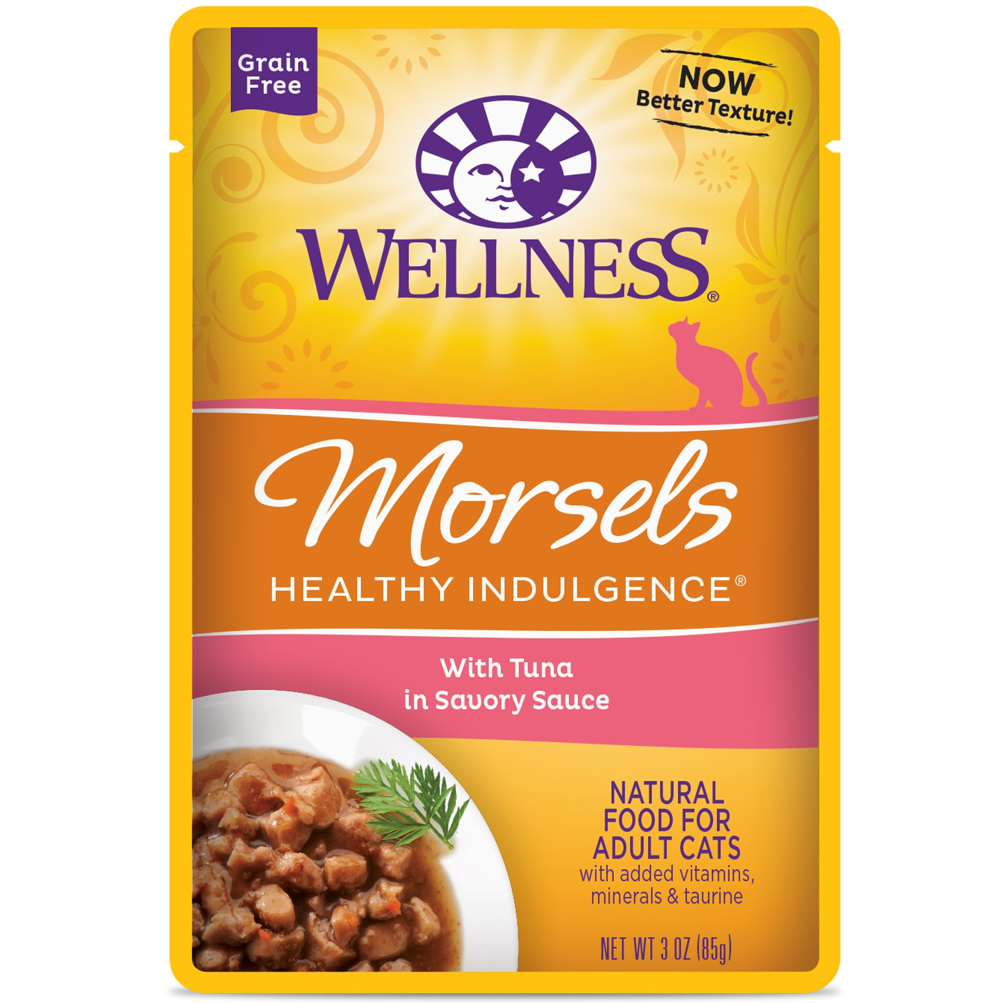 Wellness Healthy Indulgence Natural Grain Free Wet Cat Food Pouches Morsels Tuna