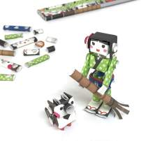 PIPEROID DIY Paper Craft Kit Hana & Suzu Waitress & Pet Sparrow - Japanese Arts and Craft Kit for Kids and Adults - Birthday Gift and Party Favor for 3D Puzzle and Origami Paper Craft Enthusiasts