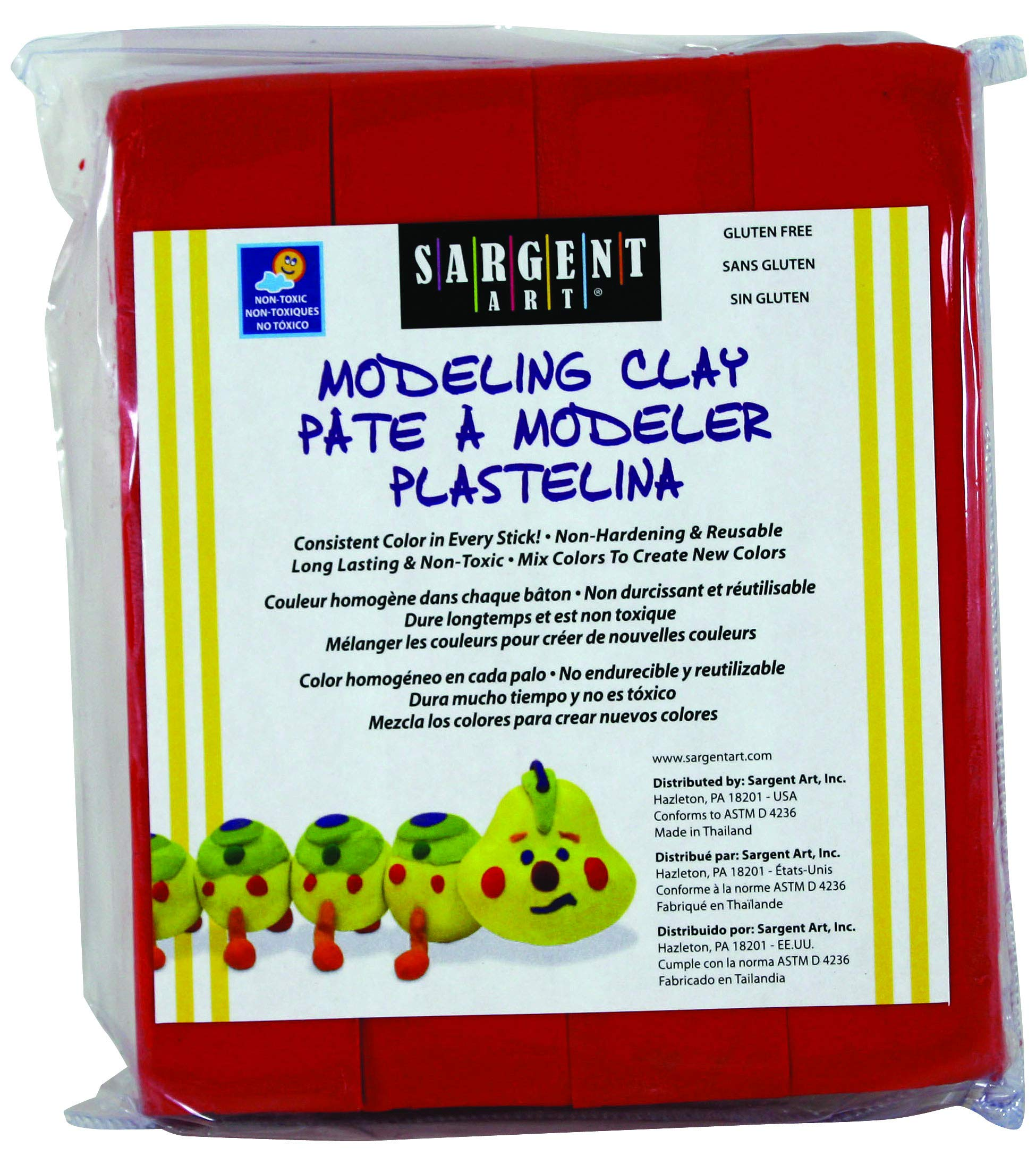 Sargent Art 22-4020 1-Pound Solid Color Modeling Clay, Red