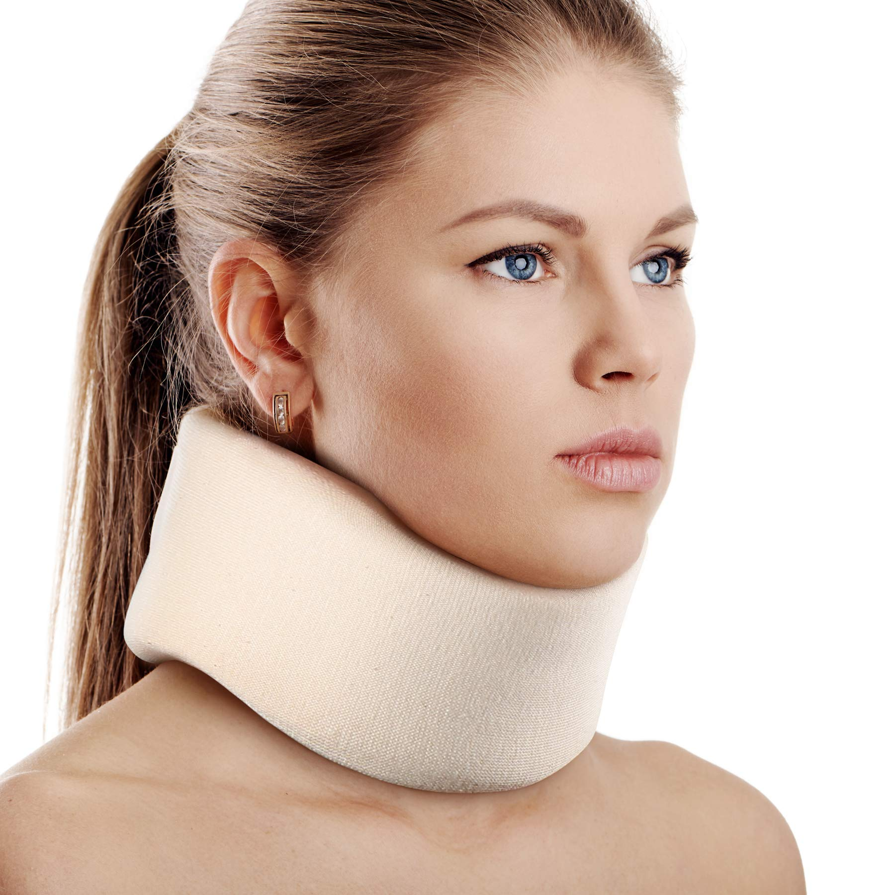 "Soft Foam Neck Brace Universal Cervical Collar, Adjustable Neck Support Brace for Sleeping - Relieves Neck Pain and Spine Pressure, Neck Collar After Whiplash or Injury (3"" Depth Collar, L)"