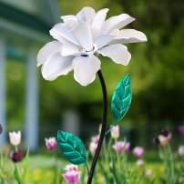 "Exhart White Rose Wind Spinner Garden Stake - Single Rose Flower Spinner Hand Painted in Metallic White & Green Colors - Fade-Resistant Metal Rose Pinwheel - Kinetic Art Flower Décor, 8"" L x 39"" H"