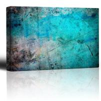 wall26 - Blue and Splatter Ink on Grunge Watercolor Paint Background - Giclee Print Abstract Canvas Wall Art Rustic Home Decor - 32x48 inches