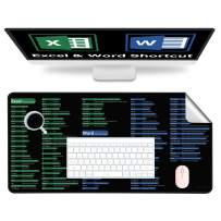 """Desk Pad Office Mouse Pad Large Desk Mat Blotter 35"""" x 18"""" Leather Desk Protector Cover Waterproof Dual Use for Gaming,Office,Home(Excel & Word Shortcuts)"""