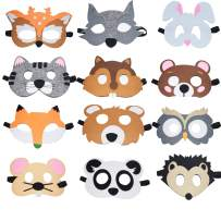 Fineder 12 Pieces Farm Animal Masks for Kids, Barnyard Animal Felt Masks for Birthday Party Favors, Dress-Up Costume Petting Zoo Farmhouse Theme
