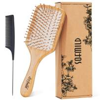 Hair Brush-Natural Wooden Bamboo Brush and Detangler Tail Comb Hair Brush Set, Eco-Friendly Paddle Hair Brushes for Women Men and Kids Make Thin Long Curly Hair Health and Massage Scalp Brush