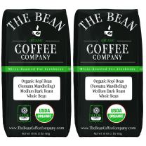 The Bean Coffee Company Organic Sumatra, Medium Dark Roast, Whole Bean, 16-Ounce Bags (Pack of 2)