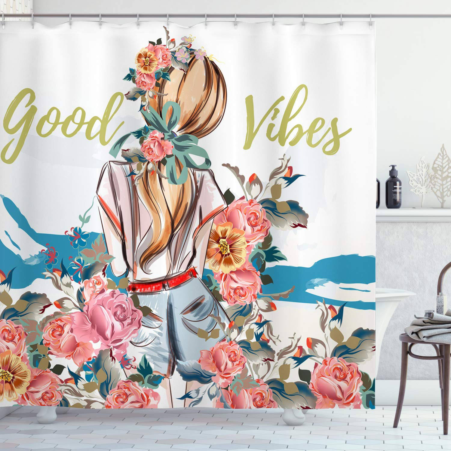 """Ambesonne Chill Shower Curtain, Young Girl Standing Back with Flourishing Roses Abstract Floral Feminine, Cloth Fabric Bathroom Decor Set with Hooks, 84"""" Long Extra, Pink Blue"""