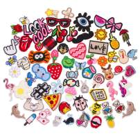 U-Sky 70pcs Bulk Cool Iron on Patches for Clothing Cute Sew on Patch Appliques for Jeans Jackets Vest Backpacks Hats Caps Kids Boys Girls