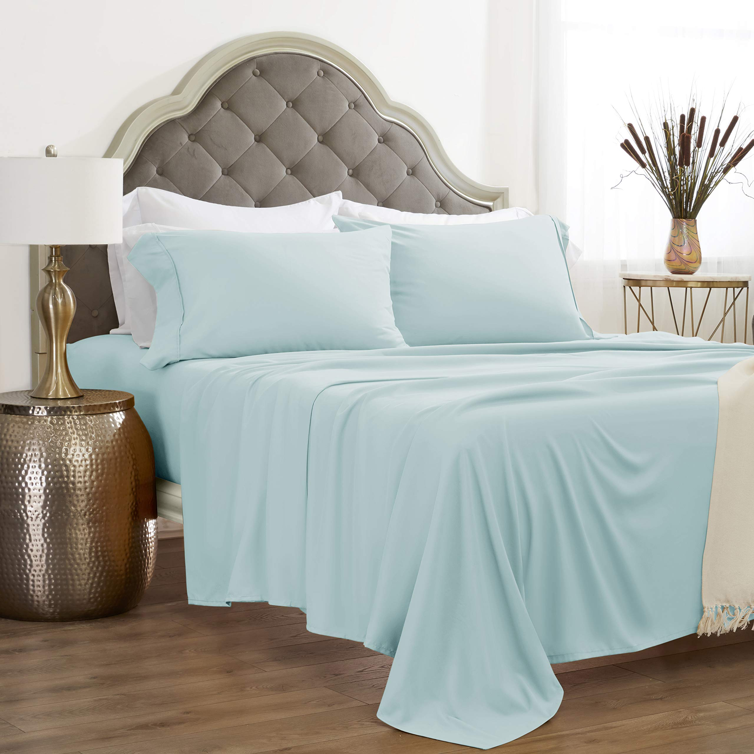 """JÁCLER Bedding Sheet Set Soft Double Brushed Microfiber Deep Pockets Fits 16"""" Mattress 1 Flat 1 Fitted 2 Pillowcases 