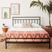 Mellow Mission - 10 Inch Metal Platform Bed with Headboard, Patented Wide Steel Slats, Easy Assembly, Full, Black
