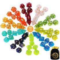 DND Dice, CiaraQ 10 X 7 Polyhedral Dice Set (70 Pieces) Great for Dungeons and Dragons, DND RPG MTG Table Games, Including D4, D6, D8 ,D10, D% ,D12, D20 and a Black Drawstring Bag.