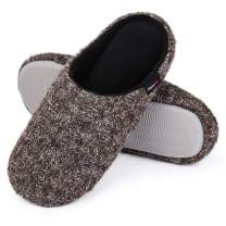 HomeIdeas Women's Cashmere Cotton Knit Memory Foam Slippers Lightweight Soft Fleece House Shoes with Anti Skid Sole