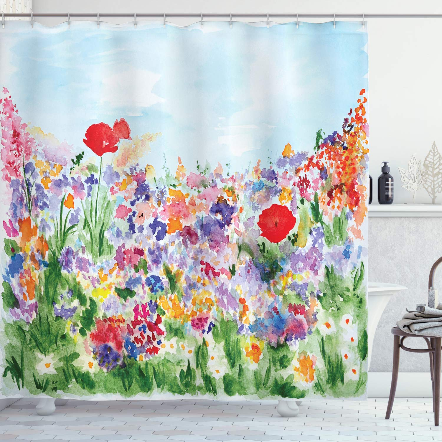 """Ambesonne Watercolor Flower Shower Curtain, Floral Summer Garden with Grass and Blooms Love Illustration Print, Cloth Fabric Bathroom Decor Set with Hooks, 84"""" Long Extra, Purple Blue"""