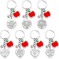 7 Pack Heart Teacher Keychain Set, Teacher Appreciation Gifts for Women