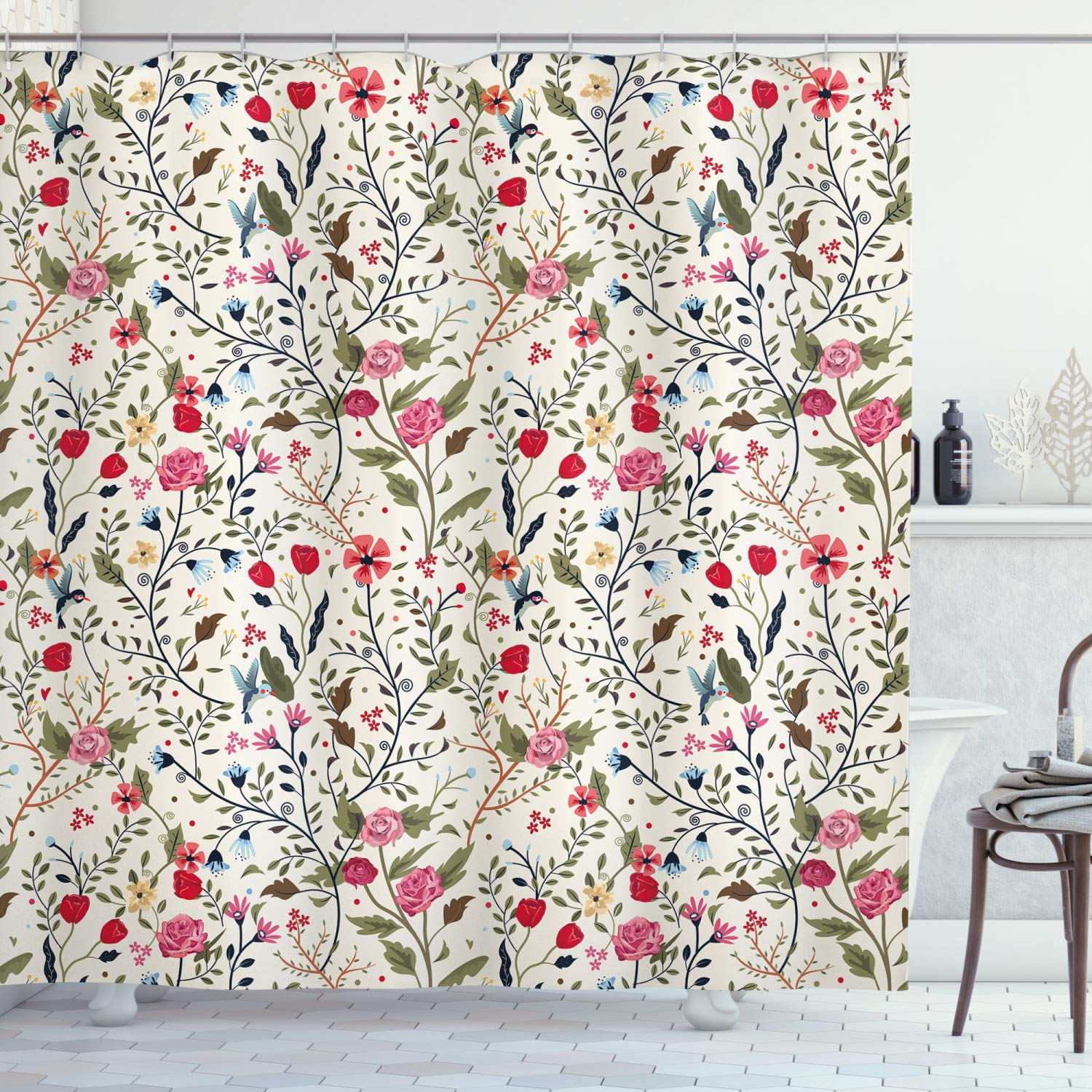 """Ambesonne Floral Shower Curtain, Vibrant Colored Complex Image Birds with Roses Leaves and Polka Dots Nature Scenery, Cloth Fabric Bathroom Decor Set with Hooks, 70"""" Long, Cream Pink"""