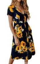 Angashion Women's Dresses- Summer Boho Sunflower Button V Neck Short Sleeve Midi Skater T Shirt DressWith Pockets Navy Blue S