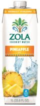 Zola Coconut Water with Pineapple, 1 Liter (Pack of 12)