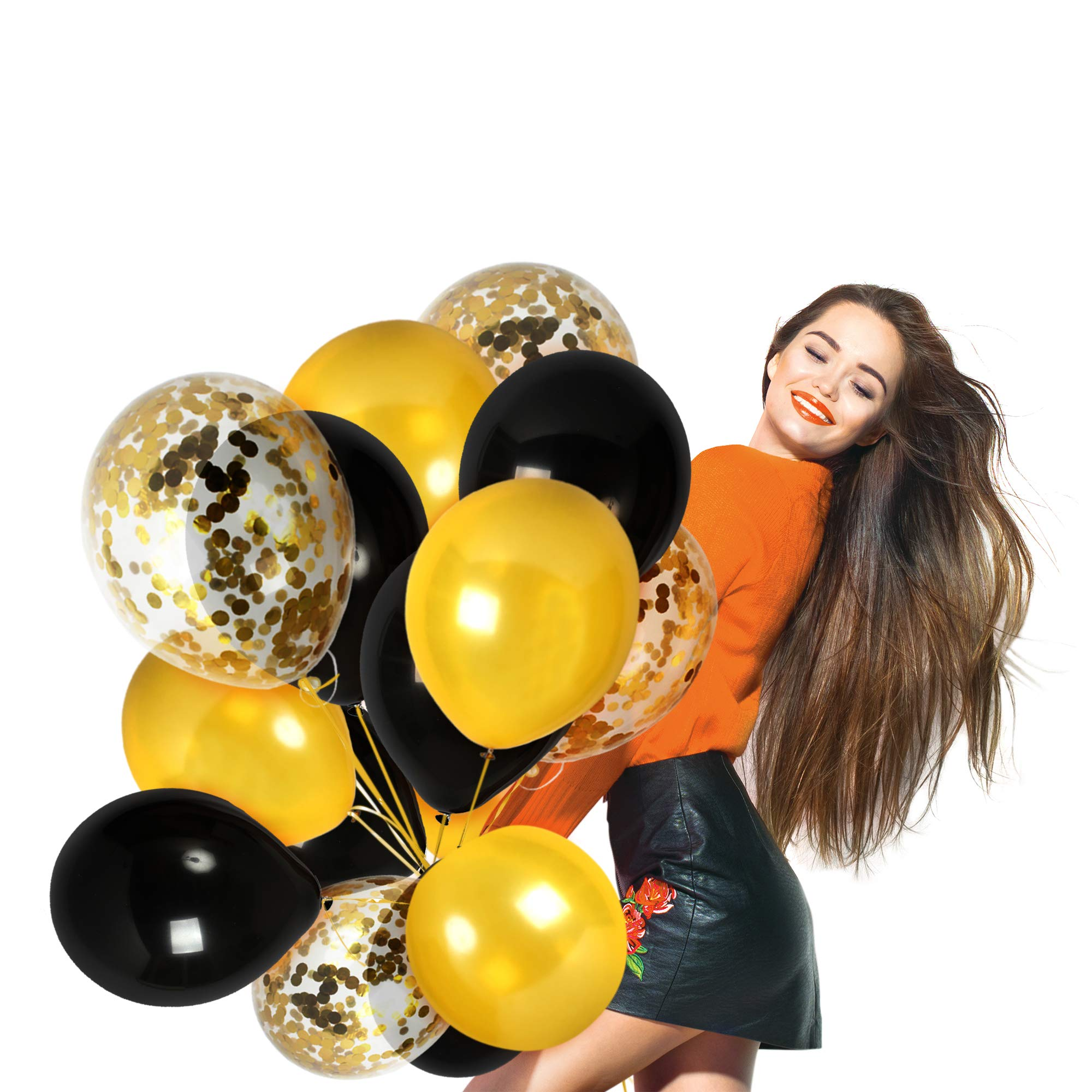 Gold Black Balloons Gold Confetti Balloon 44 Pack Graduation Decorations for Birthday Bumblebee Baby Shower Party Bridal Shower Wedding Party Supplies