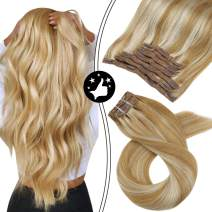 Moresoo 20 Inch Clip on Hair Extensions Human Hair Clip in Remy Human Hair Extensions Color 14 Honey Blonde Highlighted with 613 Blonde Natural Hair Clip in Hair Extensions 7PCS 100G