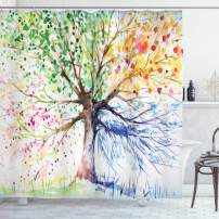 "Ambesonne Tree Shower Curtain, Watercolor Style Tree with Colorful Blooming Branches 4 Seasons Theme, Cloth Fabric Bathroom Decor Set with Hooks, 75"" Long, White Green"