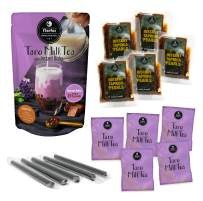 Flavfar Taro Milk Tea with Instant Tapioca Pearl - Authentic Taro Boba Tea Kit I Taro Milk Tea & Brown Sugar Boba & Straw I 5 Pack (Taro)