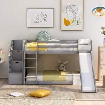 Twin Over Twin Bunk Bed with 2 Drawers, Stairway,Slide and Ladder - Bunk Bed for Family, Kids, Teens,No Box Spring Needed