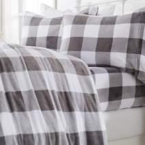 Great Bay Home Extra Soft Cozy Velvet Plush Sheet Set. Deluxe Bed Sheets with Deep Pockets. Velvet Luxe Collection (Queen, Buffalo Check - Buffalo Check - Grey)