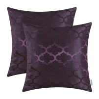 CaliTime Pack of 2 Cushion Covers Throw Pillow Cases Shells for Home Sofa Couch Modern Shining & Dull Contrast Quatrefoil Accent Geometric 16 X 16 Inches Deep Purple