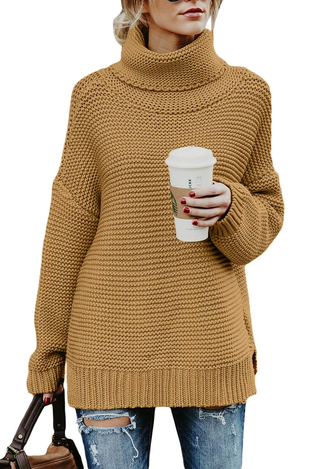 ANFTFH Chunky Knit Sweaters for Women Turtleneck Long Sleeve Pullover Tops