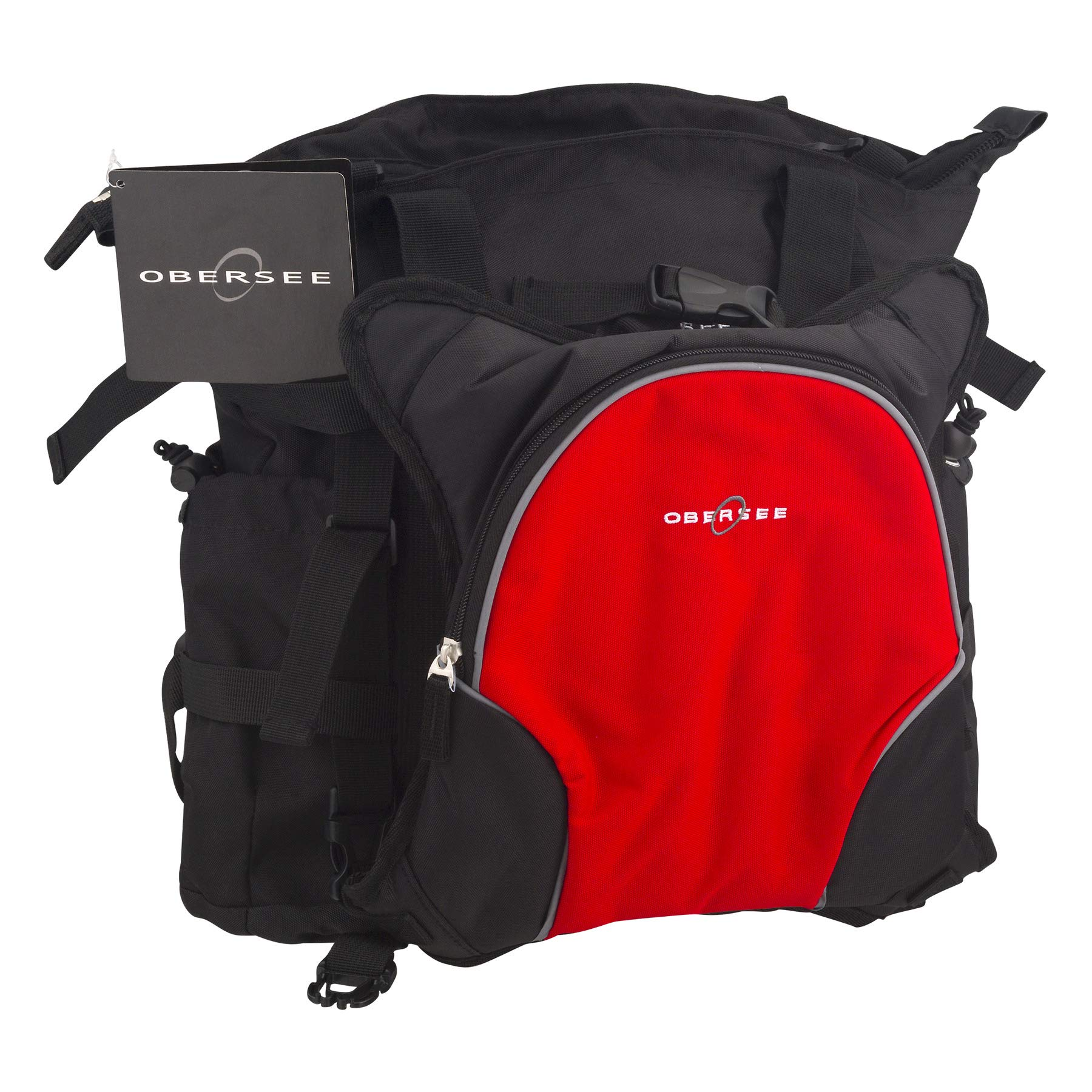 Obersee Innsbruck Diaper Bag Tote with Cooler, Black/Cloud