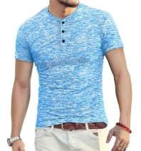 YTD Mens Fashion Casual Slim Fit Basic Henley Short Sleeve Lightweight Summer T-Shirt