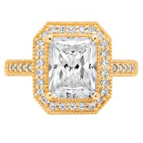 2.81ct Brilliant Emerald Cut Solitaire with Accent Halo Highest Quality Moissanite Ideal VVS1 D & Simulated Diamond Designer Modern Statement Ring Solid 14k Yellow Gold