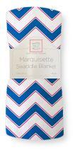 SwaddleDesigns Marquisette Swaddling Blanket, Premium Cotton Muslin, True Blue Chevron