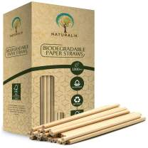 """Naturalik 1000-Pack Biodegradable Paper Straws Dye-Free- Brown Kraft Premium Eco-Friendly Paper Straws Bulk- Drinking Straws for Smoothies, Restaurants and Party Decorations, 7.7"""" (Brown, 1000ct)"""