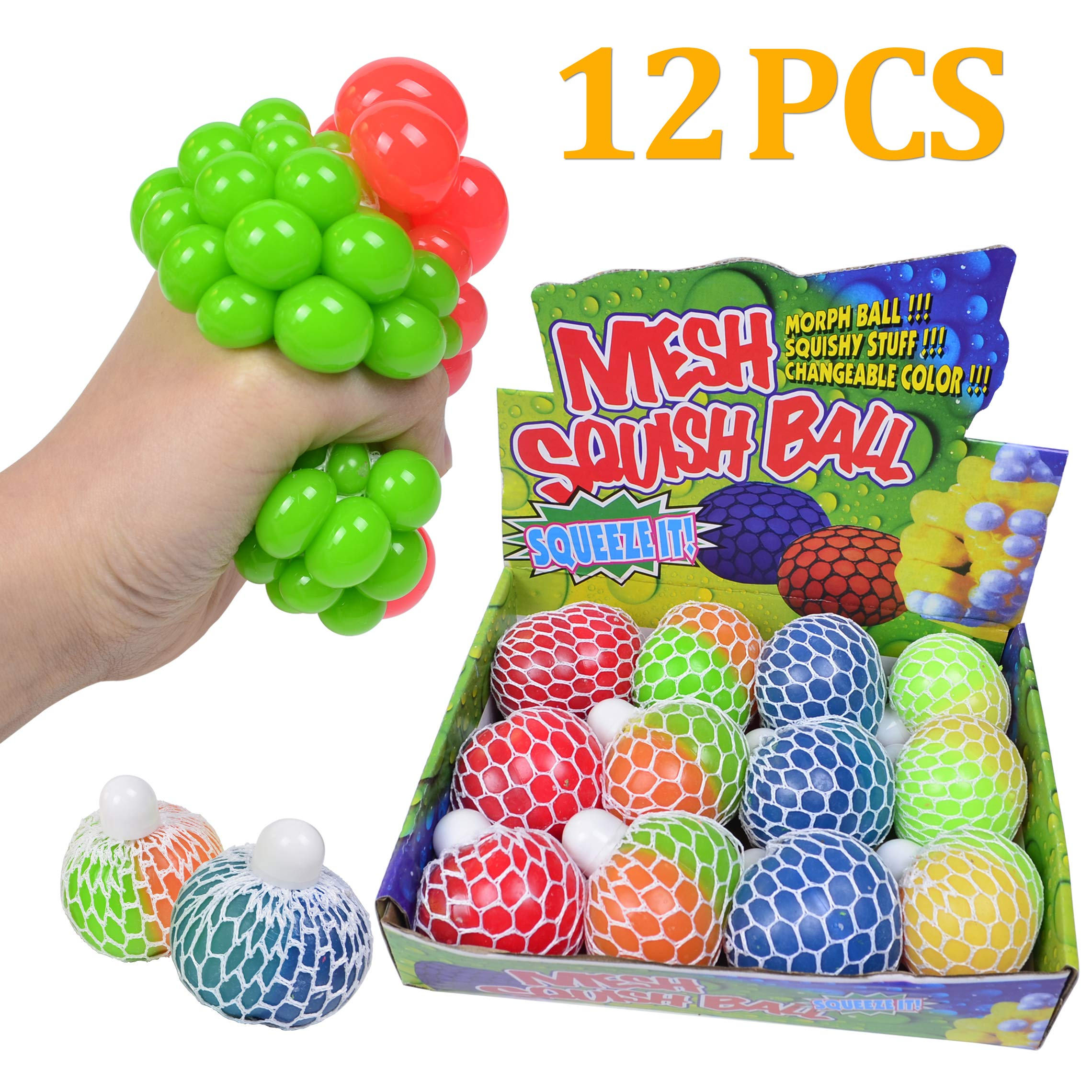 ZGWJ Anti-Stress Ball, 12 Pack Mesh Squishy Balls Stress Relief Toys Squeeze Grape Balls Relieve Pressure Balls Home and Office Use for Christmas Birthday Gift