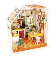 Hands Craft DG105, (Jason's Kitchen) DIY 3D Wooden Miniature Dollhouse Build Your own Crafting Kit with Real LED Lights, Fun and Educational STEM Hobby Project for Kids (14) and Adults