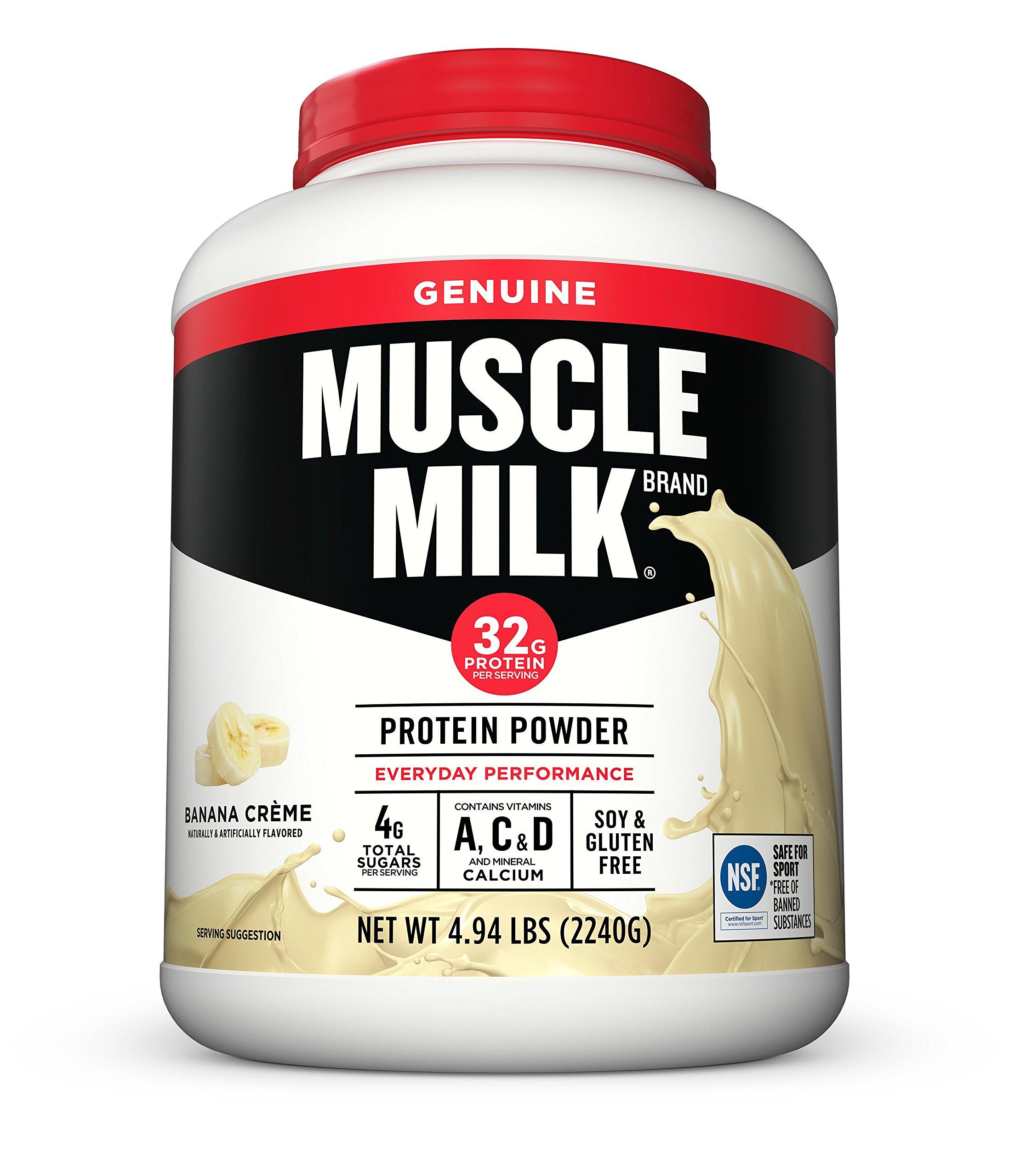 Muscle Milk Genuine Protein Powder, Banana Crème, 32g Protein, 4.94 Pound