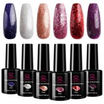 Makartt Shiny Red Glitter Gel Nail Polish Set 10ml 6pcs Glamour Blue Pink Burgundy Colour Set Soak Off UV LED Nail Gel with Gift Box P-15