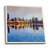 Lantern Press Chicago, Illinois - Skyline at Day (Set of 4 Ceramic Coasters - Cork-Backed, Absorbent)