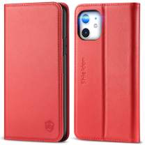 SHIELDON iPhone 11 Case, Genuine Leather iPhone 11 Wallet Case RFID Protective Card Holder Folio Magnetic Stand Protective Cover Compatible with iPhone 11 (6.1 Inch 2019) - Red