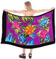 LA LEELA Women's Beach Wrap Sarong Cover Ups Swimsuit Tie Skirt Mats Hand Paint