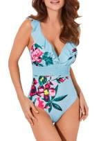 Upopby Women's Elegant Padded Push Up Bathing Suits Monokini Tummy Control Swimwear Ruffled One Piece Swimsuits
