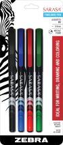 ZEBRA PEN Sarasa Fineliner Pen, Needle Point, 0.8mm, Assorted, 4-Count (66104)