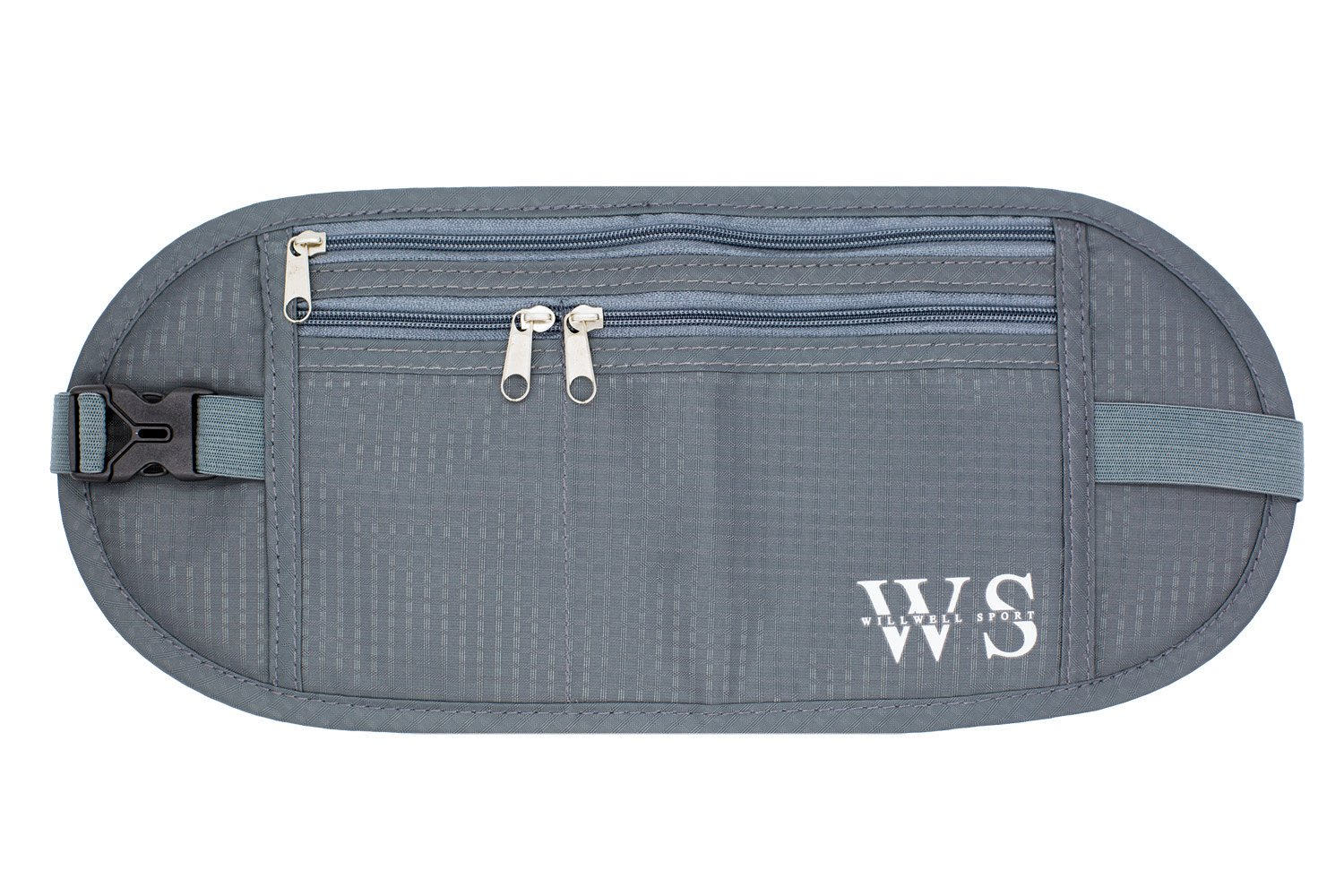 WILLWELL SPORT Money Belt Hidden Security Pouch Waterproof & Lightweight Bumbag – for Adults & Kids – RFID Fabric – for Your Conceal Valuable (Grey)
