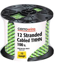 CERRO 112-361253C 100-Feet 12 Gauge Stranded Cabled THHN Black, White and Green Wire, 100-Foot